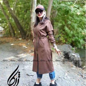 پالتو بلند زنانه مدل خانمی فوقالعاده شیک با جنس پارچه سویت ژرکا